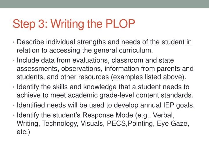 Step 3: Writing the PLOP