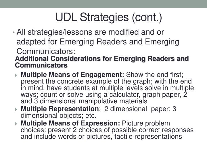 UDL Strategies (cont.)