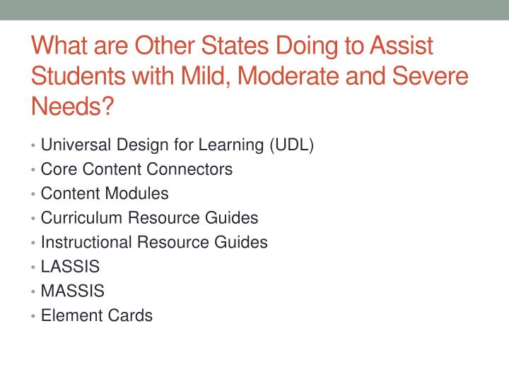 What are Other States Doing to Assist Students with Mild, Moderate and Severe Needs?