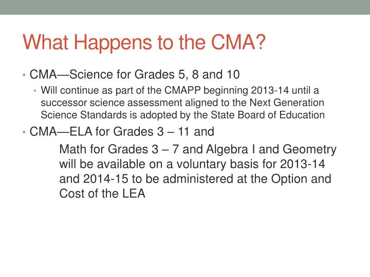 What Happens to the CMA?