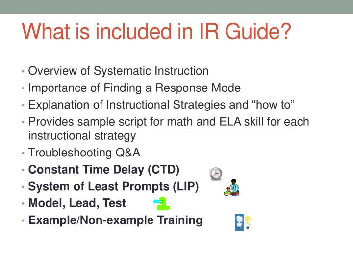 What is included in IR Guide?
