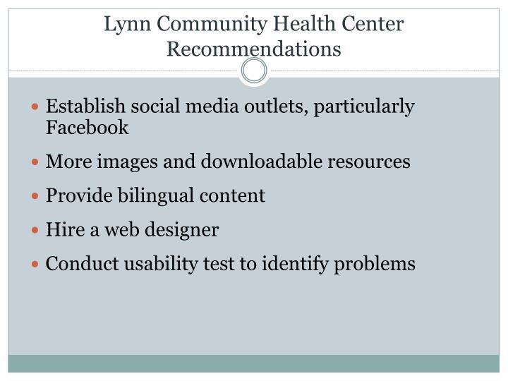 Lynn Community Health Center Recommendations