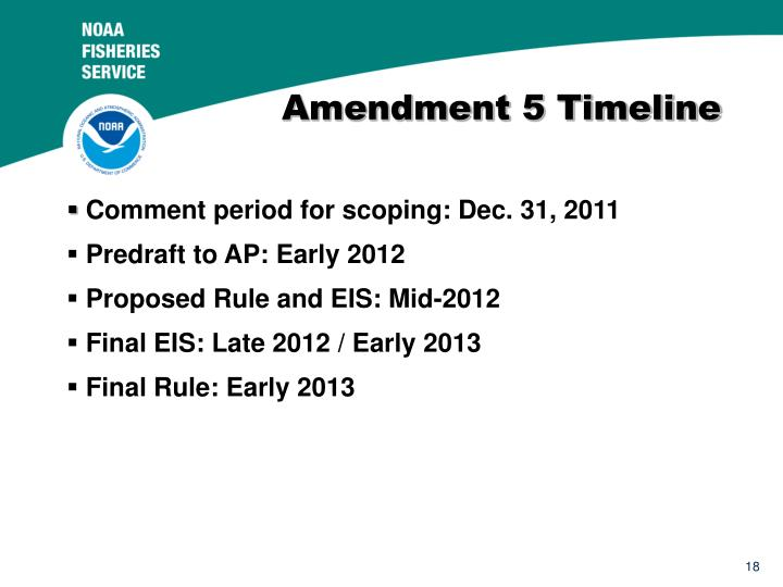 Amendment 5 Timeline