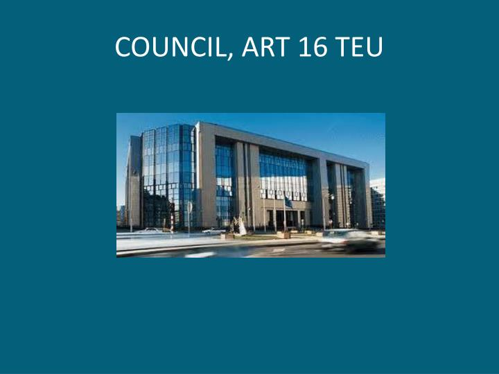 COUNCIL, ART 16 TEU