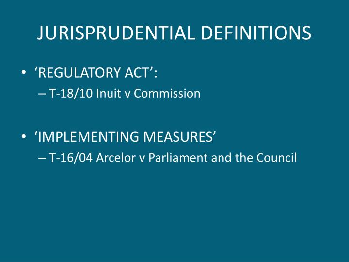 JURISPRUDENTIAL DEFINITIONS