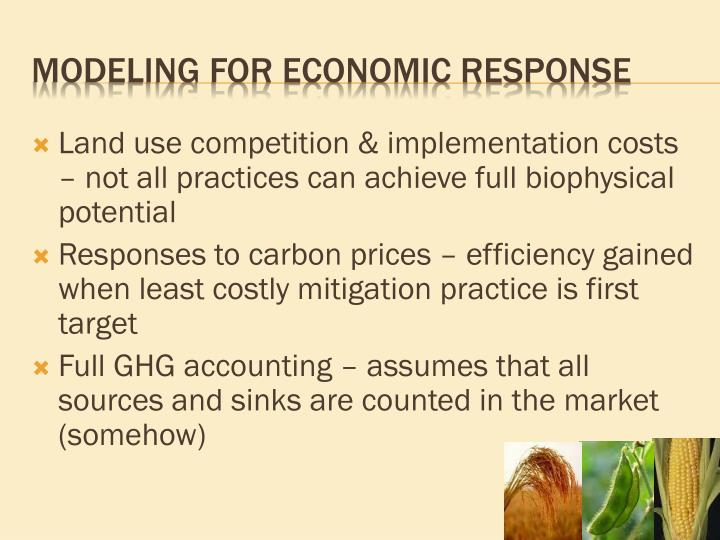 Land use competition & implementation costs – not all practices can achieve full biophysical potential