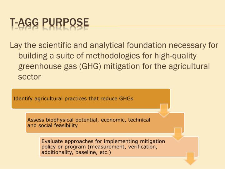 Lay the scientific and analytical foundation necessary for building a suite of methodologies for high-quality greenhouse gas (GHG) mitigation for the agricultural sector