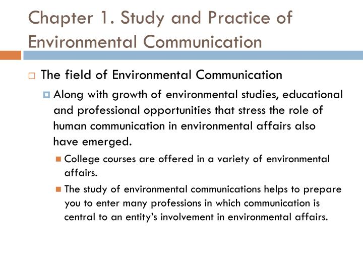 Chapter 1. Study and Practice of Environmental Communication
