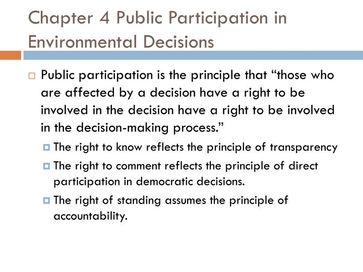 Chapter 4 Public Participation in Environmental Decisions