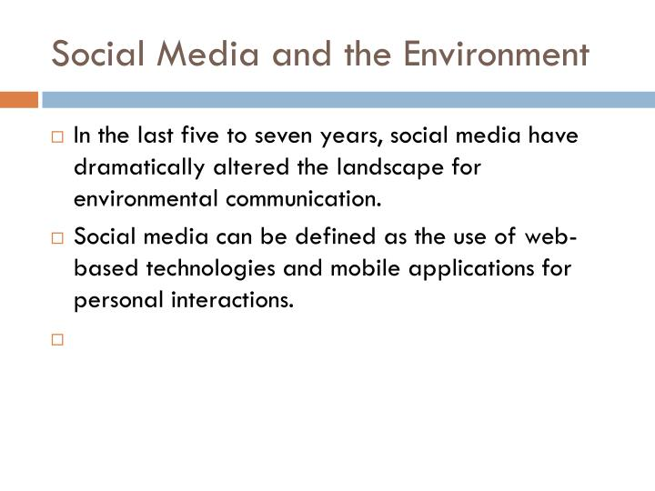 Social Media and the Environment