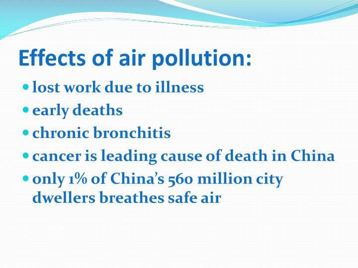 Effects of air pollution: