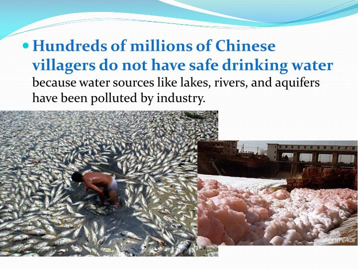 Hundreds of millions of Chinese villagers do not have safe drinking water