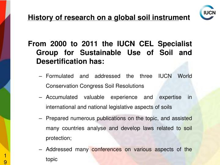 History of research on a global soil instrument