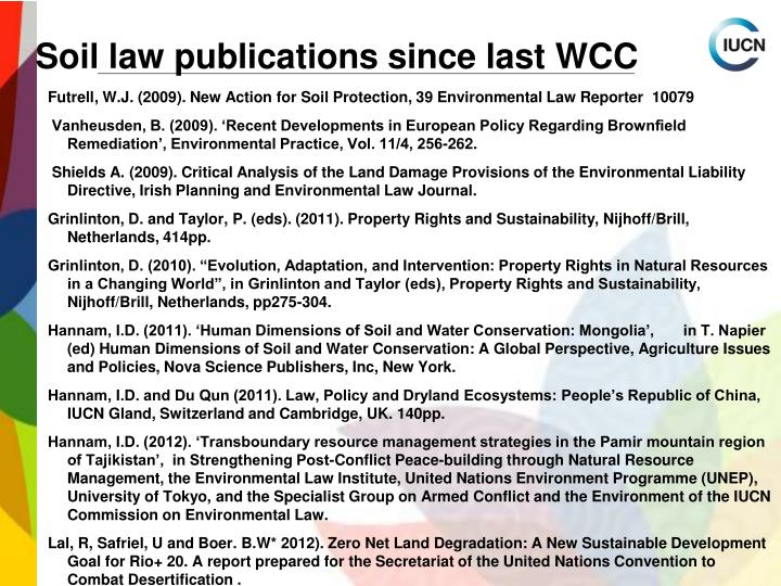 Soil law publications since last WCC