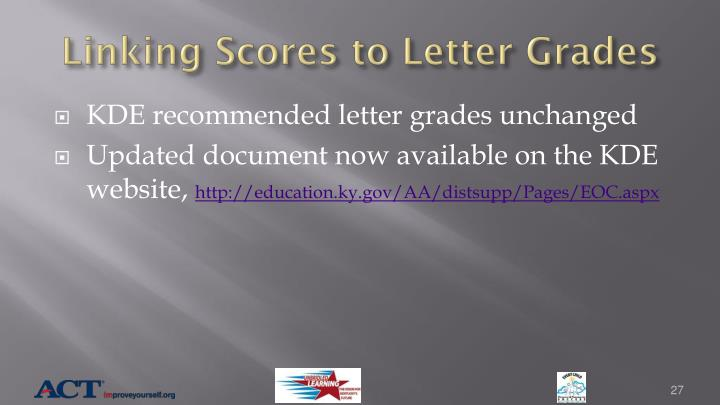 Linking Scores to Letter Grades
