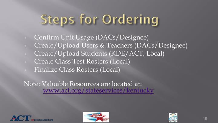 Steps for Ordering