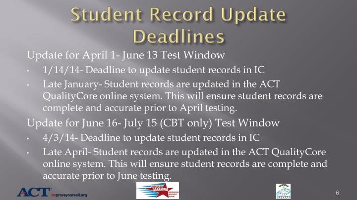 Student Record Update Deadlines