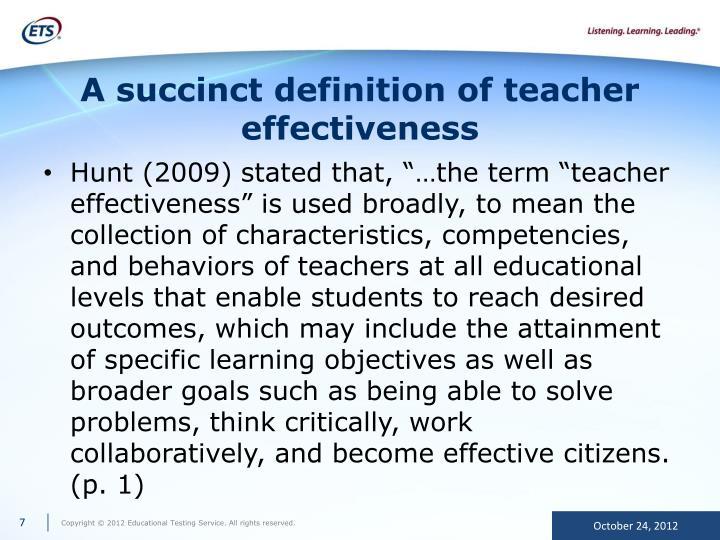 A succinct definition of teacher effectiveness