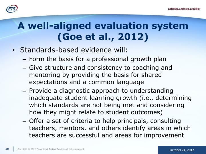 A well-aligned evaluation system