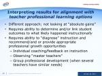 interpreting results for alignment with teacher professional learning options
