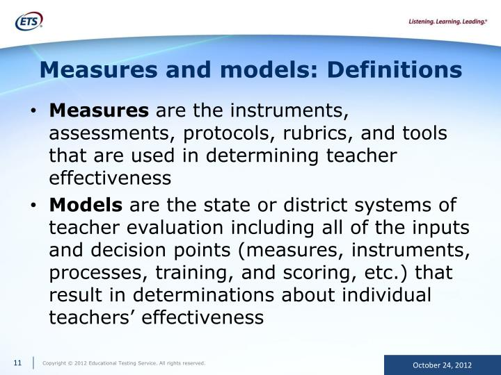Measures and models: Definitions