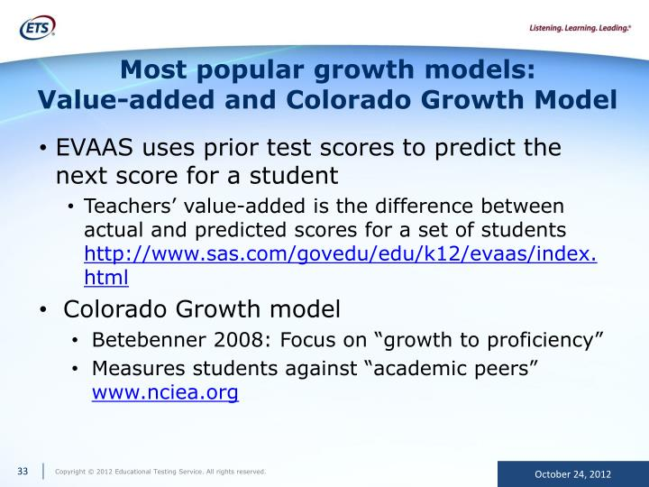 Most popular growth models: