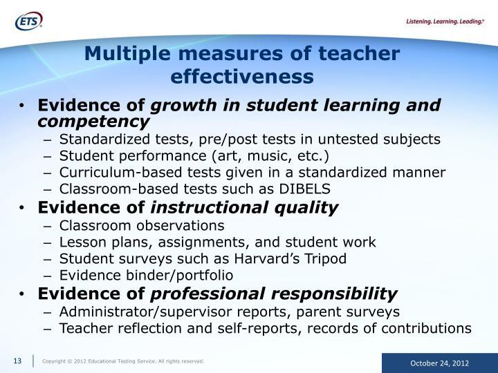 Multiple measures of teacher effectiveness