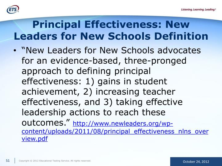 Principal Effectiveness: New Leaders for New Schools Definition