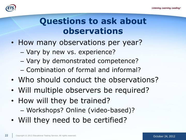 Questions to ask about observations