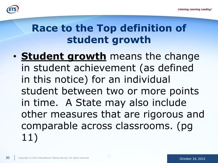 Race to the Top definition of student growth