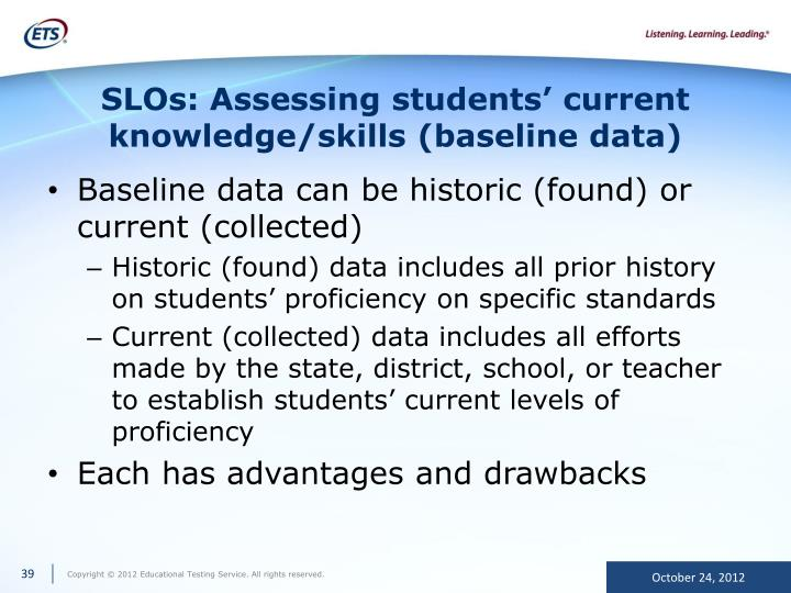 SLOs: Assessing students' current knowledge/skills (baseline data)