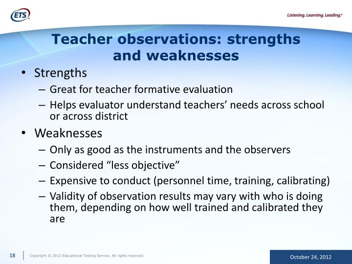 Teacher observations: strengths and weaknesses