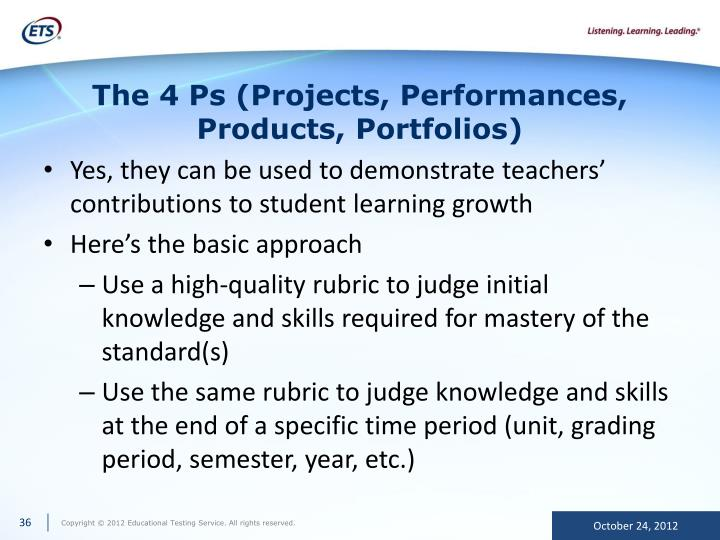 The 4 Ps (Projects, Performances, Products, Portfolios)