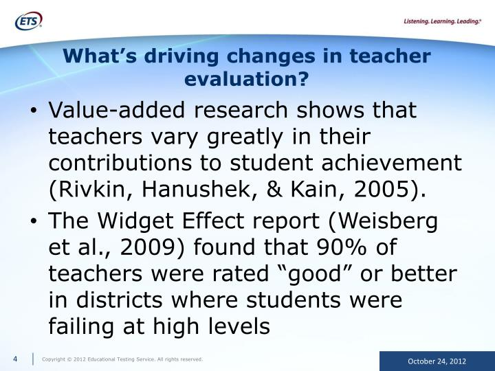 What's driving changes in teacher evaluation?