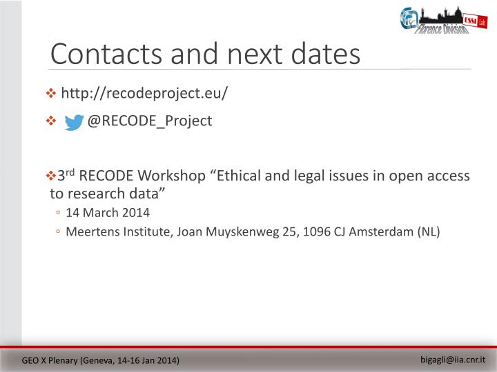 Contacts and next dates