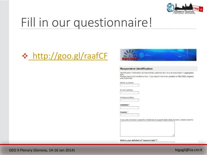 Fill in our questionnaire!