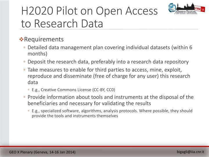 H2020 Pilot on Open Access to Research Data