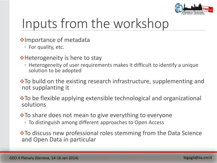 Inputs from the workshop