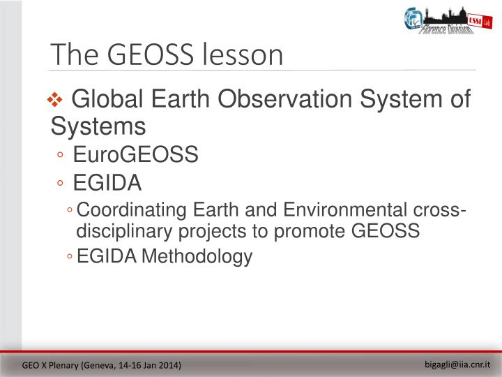 The GEOSS lesson