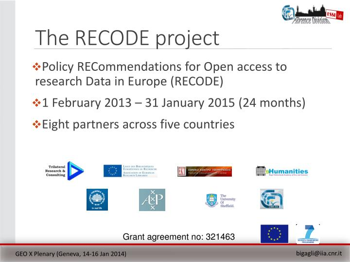 The RECODE project