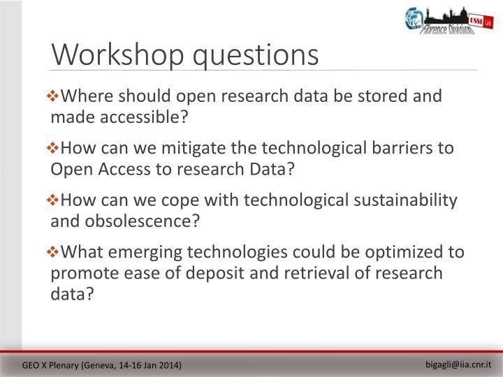 Workshop questions