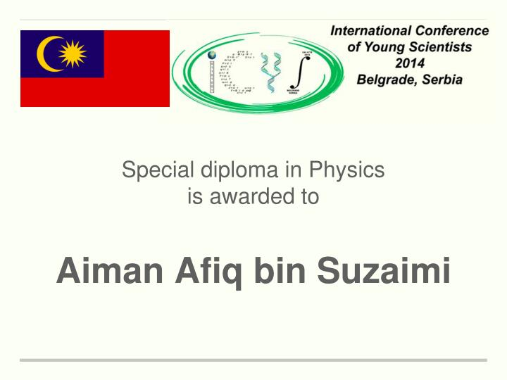 Special diploma in Physics