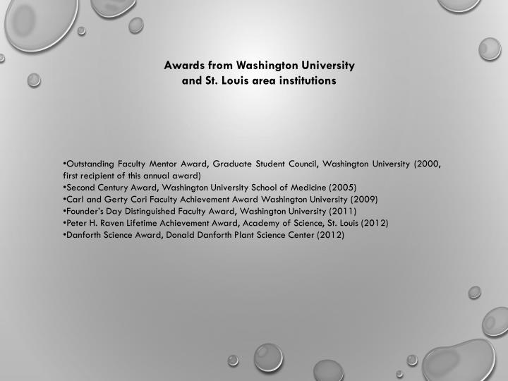 Awards from Washington University