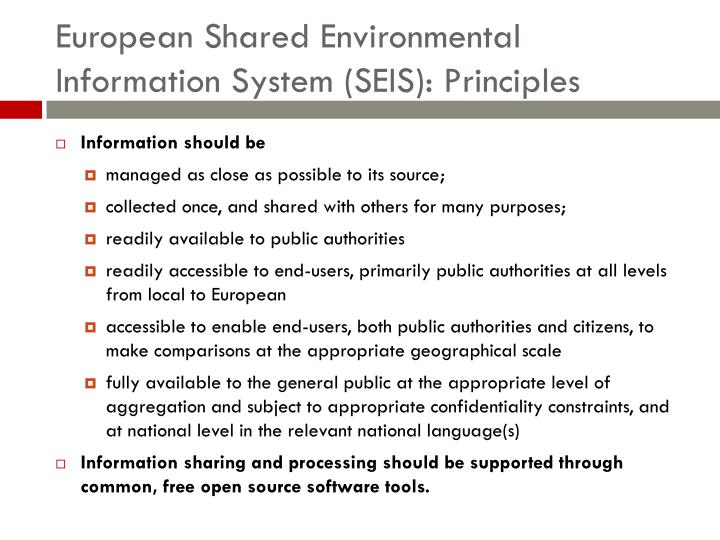 European Shared Environmental Information System (SEIS): Principles
