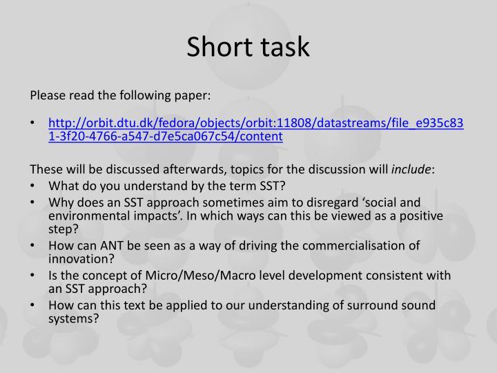 Short task