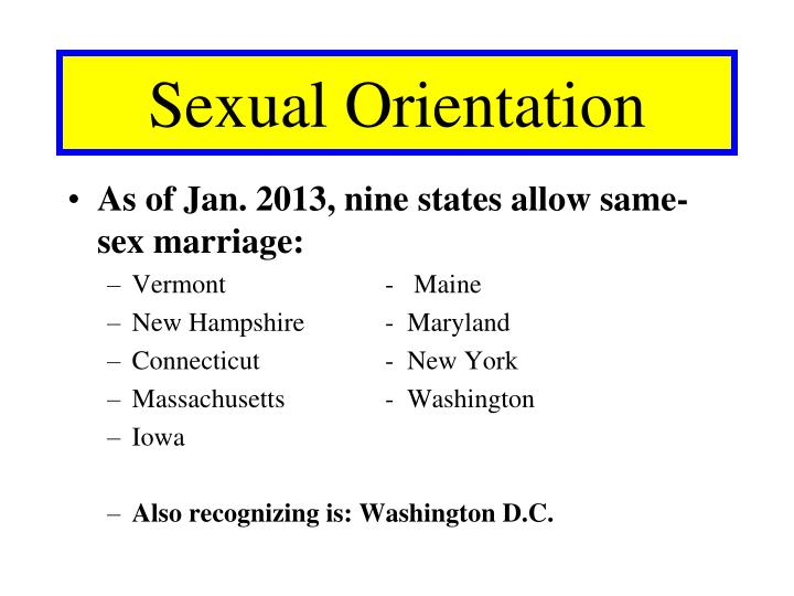 As of Jan. 2013, nine states allow same-sex marriage: