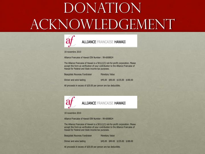 Donation acknowledgement