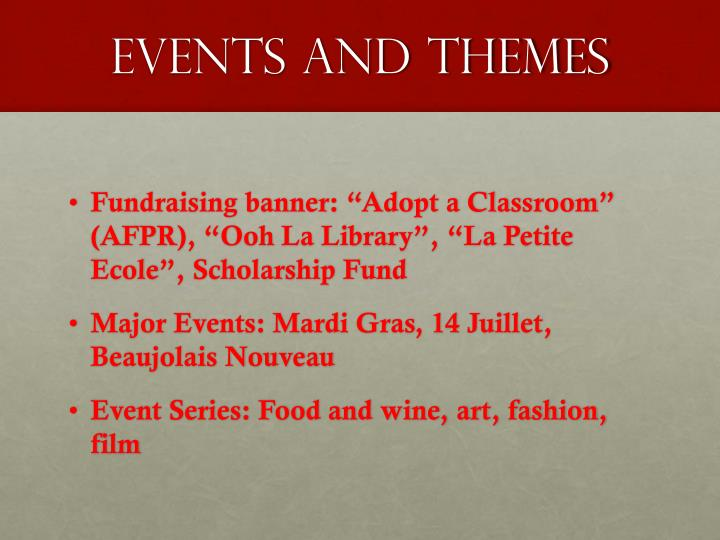 EVENTS AND THEMES