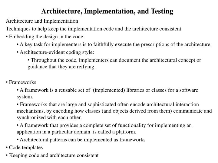 Architecture implementation and testing1