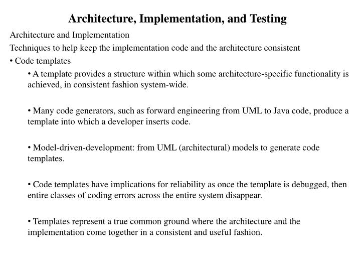 Architecture implementation and testing2